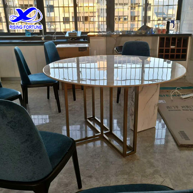 marble and brass dining table