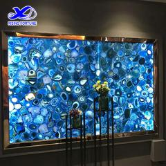 Blue agate stone slabs