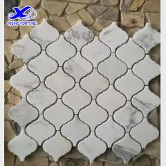 White marble lantern mosaic tile backsplash design