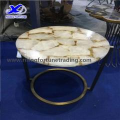 Round white quartz coffee table top