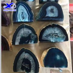 Natural agate bookends blue wholesale