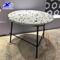 Round terrazzo coffee table with metal leg