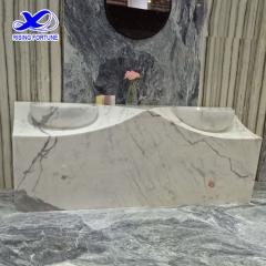 Antique white marble sink bathroom