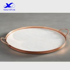 Round marble and copper serve tray