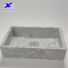 rectangular carrara white marble washbasin