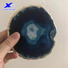 Blue agate slice coaster natural with gold trim