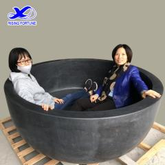 Honed black round stone granite bathroom bathtub