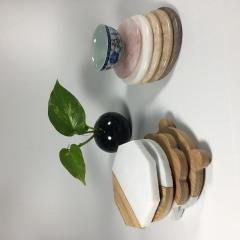 Marble and wood coasters for drink