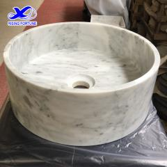 Bianco carrara marble cylindrical honed stone basin