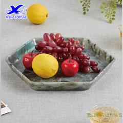 Hexagon granite stone fruit tray